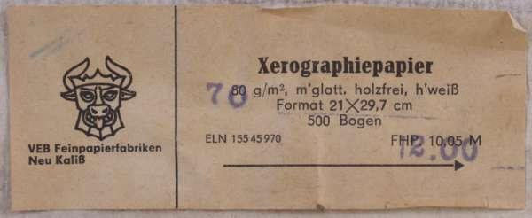 Xerographie-Papier DDR h'weiss